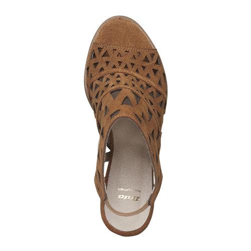 Sandali di pelle con tacco ampio bata, marrone, 763-8532 - 19