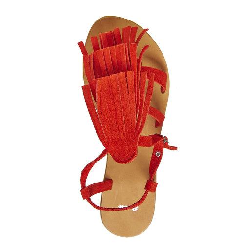 Sandali di pelle con nappe bata, rosso, 563-5130 - 19