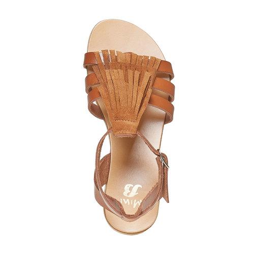 Sandali da bambina in pelle con cinturino alla caviglia. mini-b, marrone, 364-3190 - 19