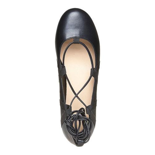 Ballerine da donna con lacci bata, nero, 521-6142 - 19