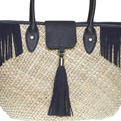 Borsetta Shopper con frange bata, nero, 969-6449 - 17