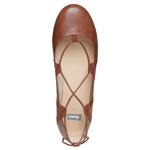 Ballerine da donna con lacci bata, marrone, 521-3142 - 19