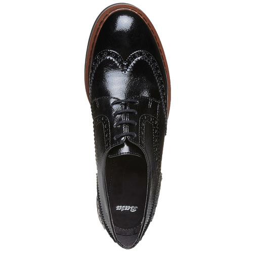 Scarpe basse con decorazioni Brogue e suola appariscente bata, nero, 521-6356 - 19