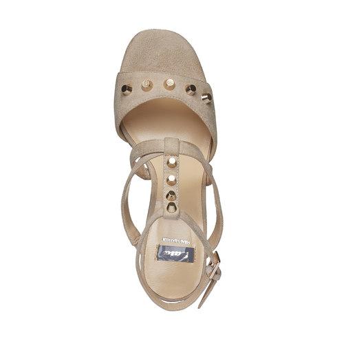sandalo da donna con tacco bata, beige, 769-8534 - 19