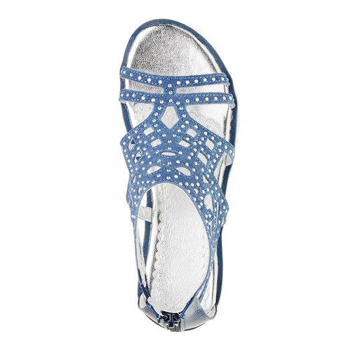 Sandali in pelle con pietre mini-b, blu, 363-9170 - 19