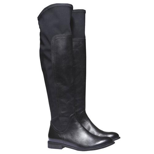 Stivali di pelle bata, nero, 594-6225 - 26