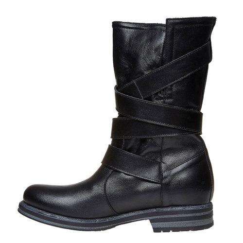 Stivali da donna con fibbie bata, nero, 594-6103 - 19