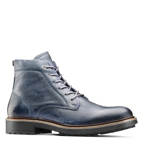 Scarpe blu di pelle alla caviglia bata, blu, 894-9522 - 13