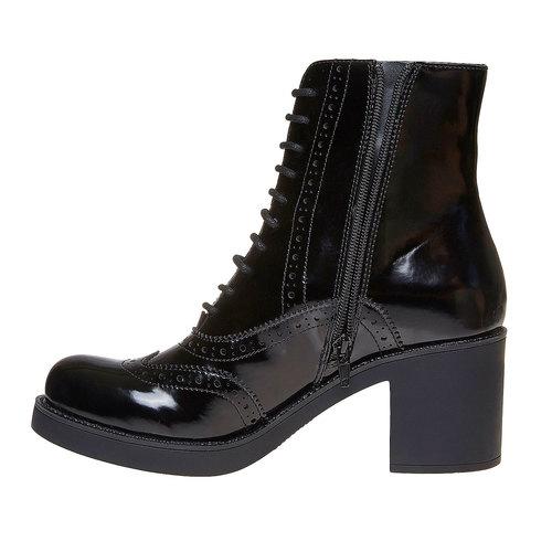 Scarpe da donna alla caviglia in stile Oxford bata, nero, 691-6148 - 19