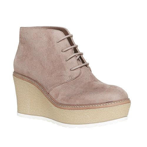 Scarpe da donna alla caviglia con plateau bata, grigio, 799-2254 - 13