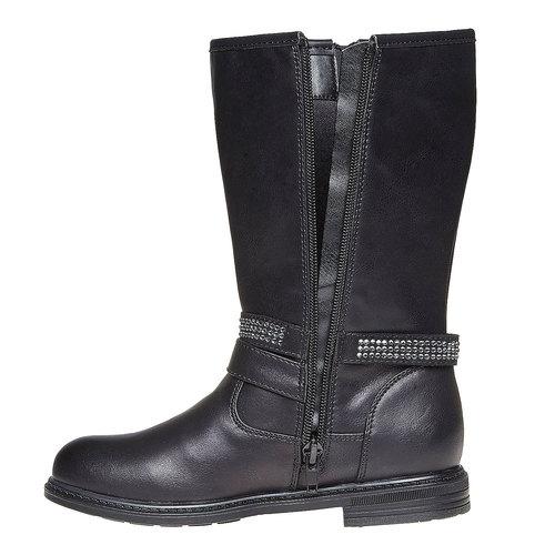 Stivali da ragazza con strass mini-b, nero, 391-6250 - 19