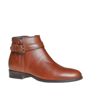 Scarpe di pelle alla caviglia con cuciture bata, marrone, 594-3167 - 13