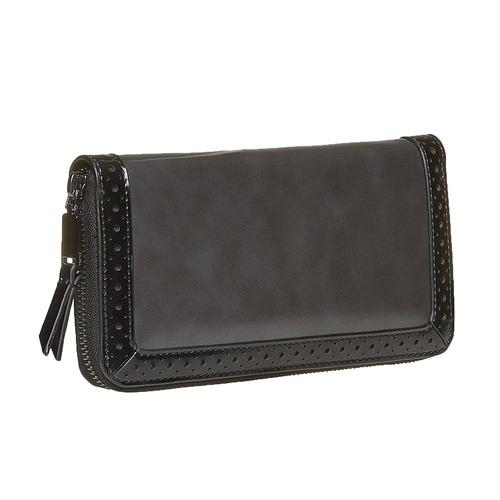 Portafoglio da donna con perforazioni bata, nero, 941-6142 - 13