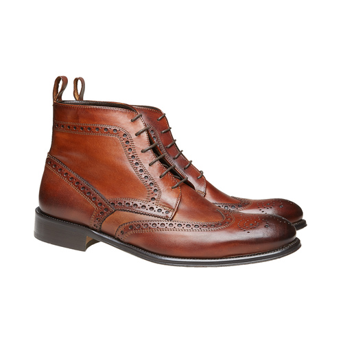 Scarpe in pelle sopra la caviglia con decorazione Brogue bata-the-shoemaker, marrone, 824-3179 - 26