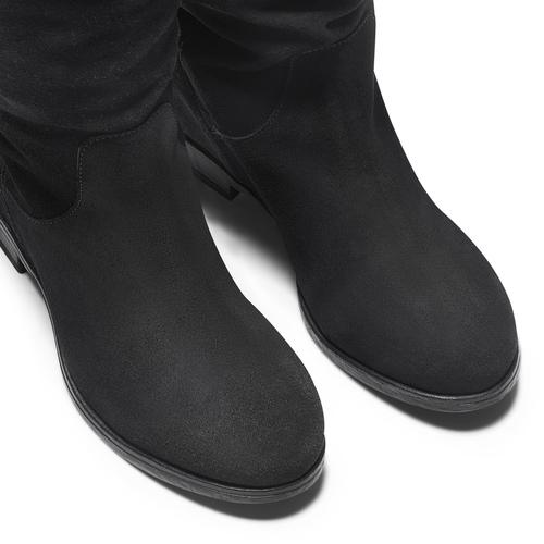 Stivali di pelle con tacco con zeppa bata, nero, 693-6391 - 17