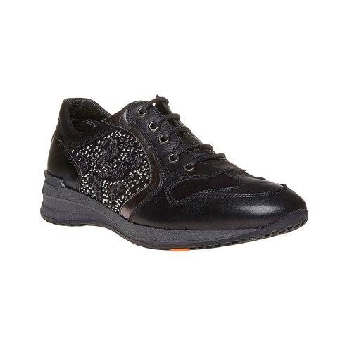 Sneakers in pelle da donna con strass flexible, nero, 524-6223 - 13