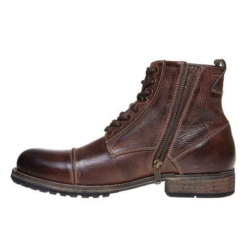 Scarpe di pelle alla caviglia bata, marrone, 894-4518 - 19