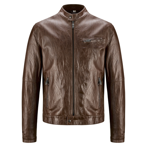 Giacca da uomo in pelle con cuciture eleganti bata, marrone, 974-4142 - 13