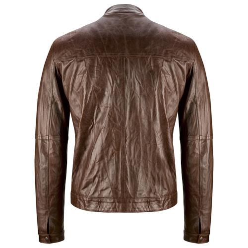 Giacca da uomo in pelle con cuciture eleganti bata, marrone, 974-4142 - 26
