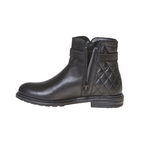Stivaletti in pelle alla caviglia con cuciture mini-b, nero, 394-6233 - 18