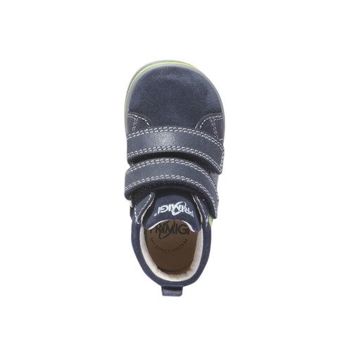 Scarpe in pelle alla caviglia con chiusure a velcro primigi, blu, 113-9121 - 19