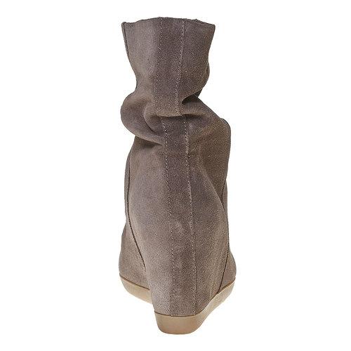 Stivali di pelle con tacco a zeppa bata, grigio, 793-2618 - 17