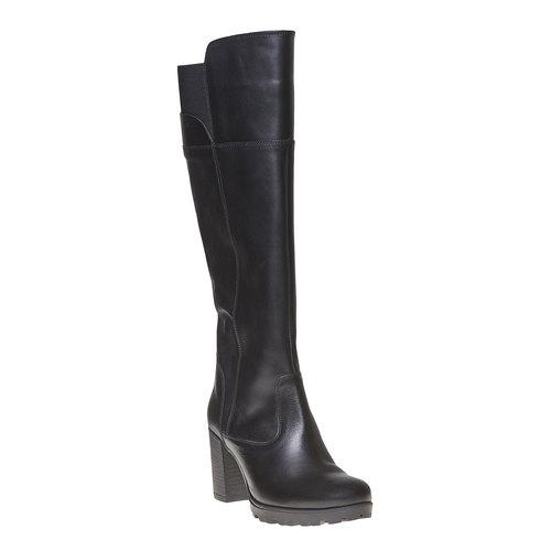 Stivali di pelle con tacco massiccio bata, nero, 794-6580 - 13