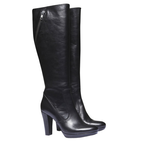 Stivali al ginocchio in pelle bata, nero, 794-6602 - 26