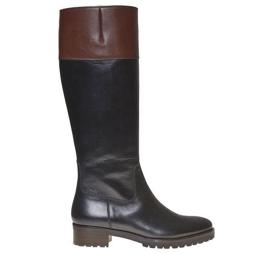 Stivali in pelle da donna con suola casual bata, nero, 594-6166 - 15