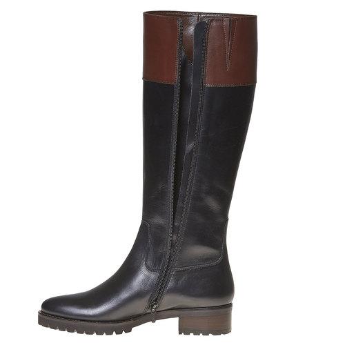 Stivali in pelle da donna con suola casual bata, nero, 594-6166 - 19