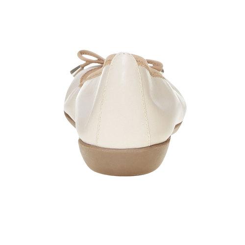 Ballerine da donna in pelle bata, beige, 524-8485 - 17