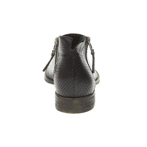 Stivaletti di pelle alla caviglia con perforazioni bata, nero, 594-6400 - 17
