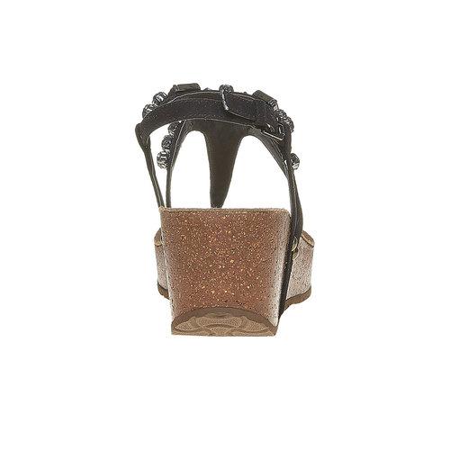 Sandali con strass e plateau bata, nero, 669-6214 - 17
