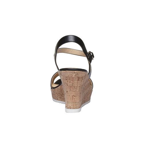 Sandali da donna con plateau bata, nero, 761-6523 - 17