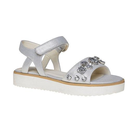 Sandali con flatform con pietre mini-b, bianco, 361-1174 - 13