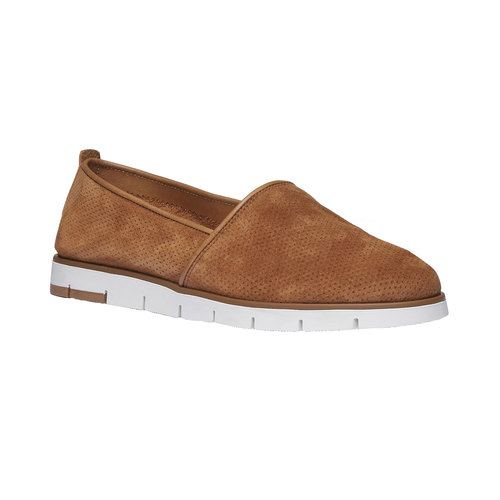Slip-on di pelle con perforazioni flexible, marrone, 513-3200 - 13