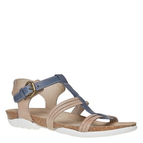 Sandali da donna in pelle weinbrenner, blu, 564-9315 - 13