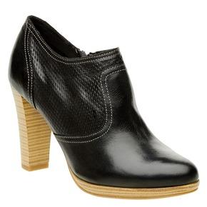 Scarpe basse di pelle con tacco bata, nero, 724-6932 - 13
