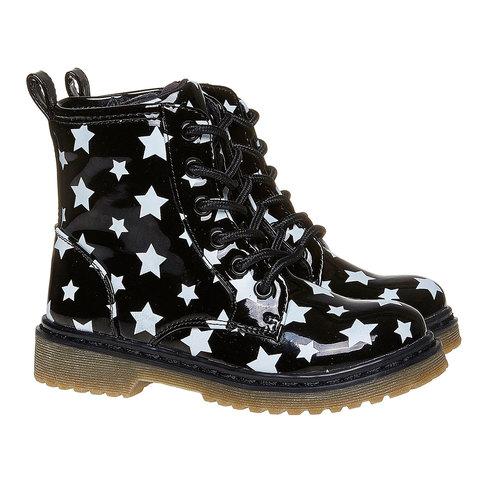 Scarpe da bambina sopra la caviglia con suola appariscente mini-b, nero, 291-6159 - 26