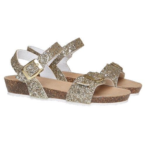 Sandali con glitter e suola di sughero mini-b, oro, 369-8189 - 26