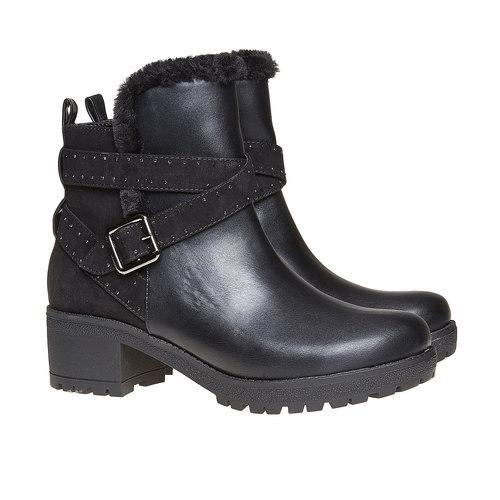 Scarpe da donna alla caviglia con suola appariscente bata, nero, 691-6160 - 26