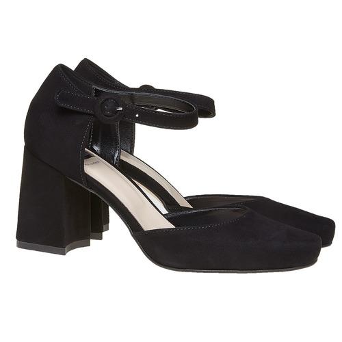 Sandali in pelle con punta chiusa bata, nero, 723-6372 - 26