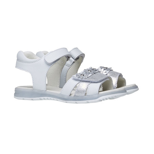 Sandali in pelle bianca mini-b, bianco, 264-1163 - 26