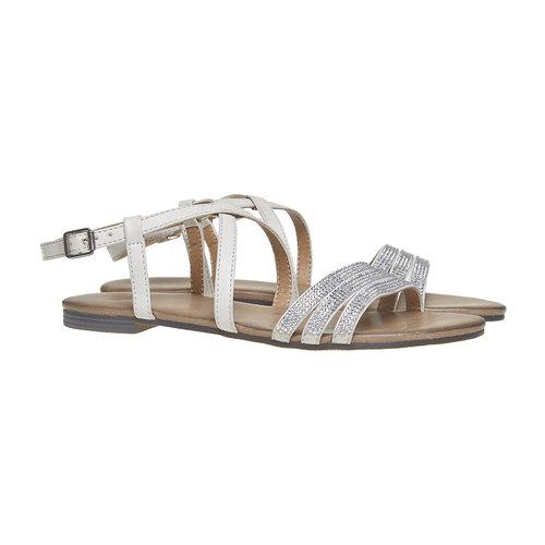 Sandali da donna con strass bata, grigio, 561-2319 - 26