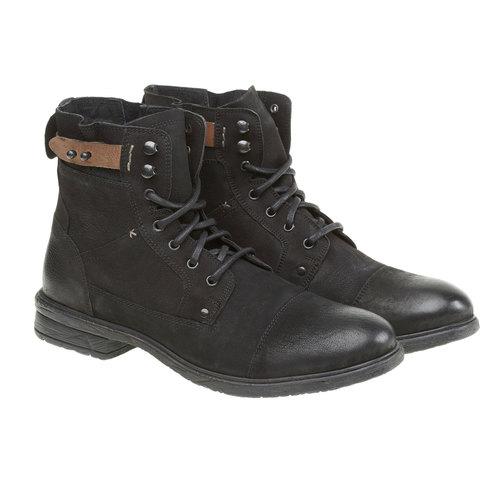 Scarpe di pelle alla caviglia bata, nero, 894-6165 - 26