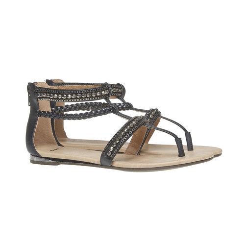 Sandali da donna con strisce decorate bata, nero, 561-6330 - 26
