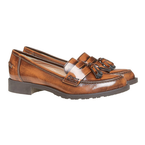 Loafers da donna in pelle con nappe bata, marrone, 514-3246 - 26