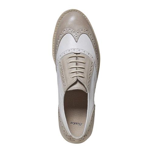 Scarpe basse di pelle con decorazione Brogue bata, grigio, 524-2129 - 19