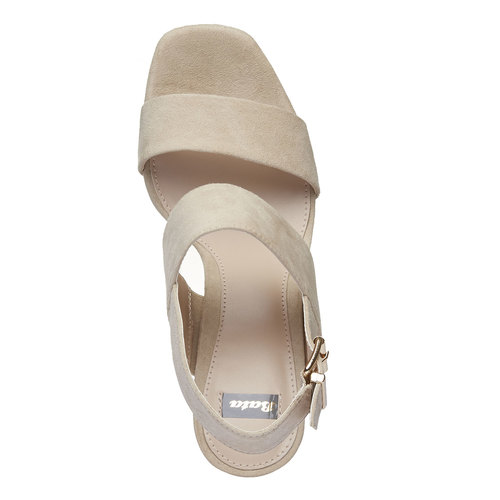 Sandali da donna con tacco massiccio bata, beige, 769-8541 - 19