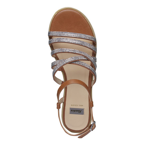Sandali da donna con strisce e flatform bata, marrone, 561-3226 - 19